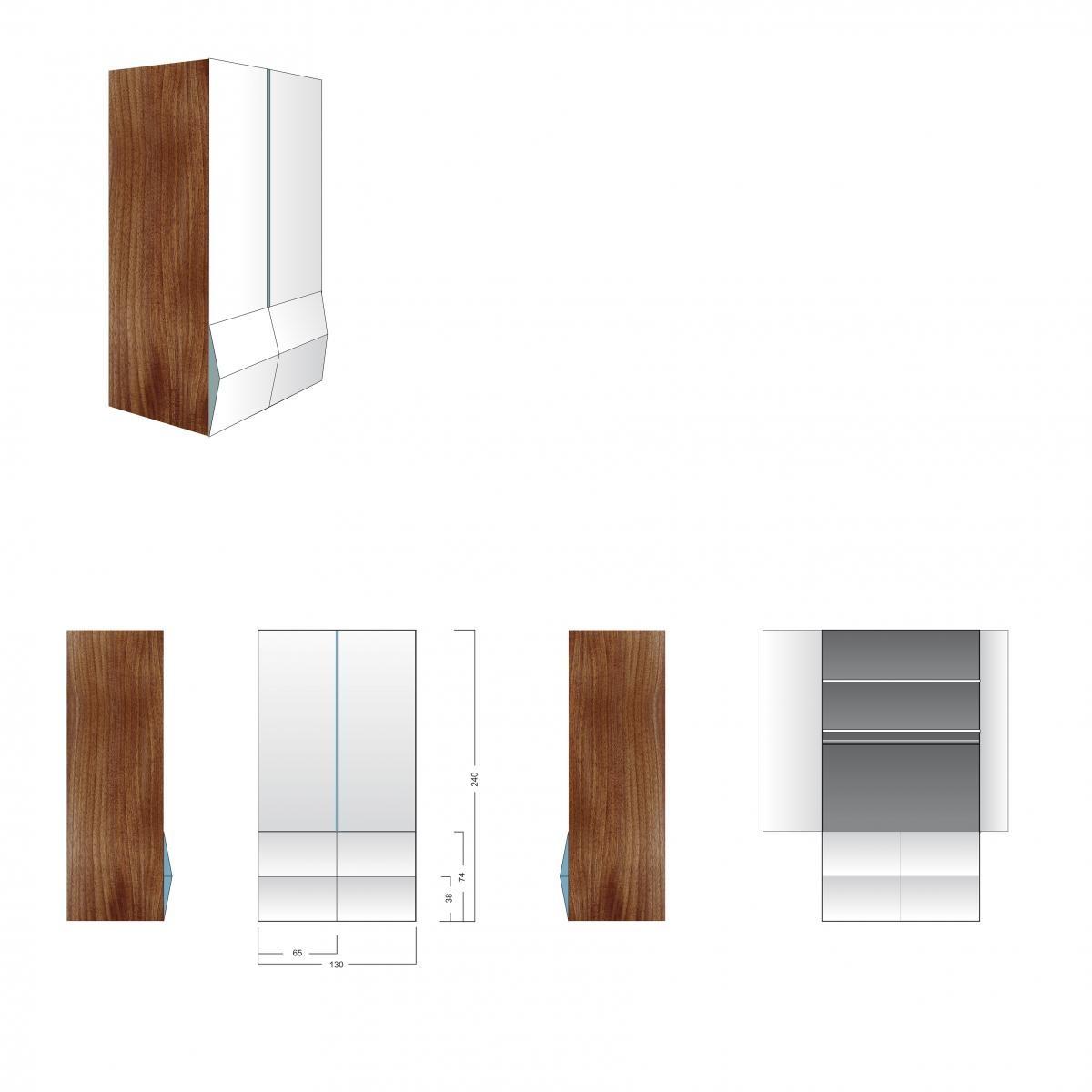 Designer-Kleiderschrank / Büroschrank – Einzelstück – Nussbaum zu ...