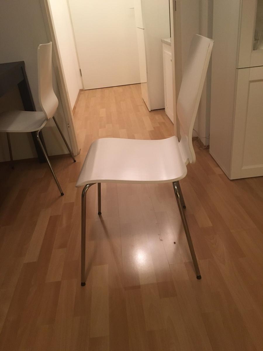 vier weiße stühle gilbert von ikea abzugeben zu verschenken in