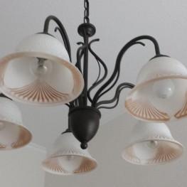Hängellampe 5 Arme schwarzes Metall mit Glashauben